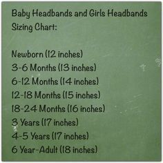 headband measurements for babies - Google Search