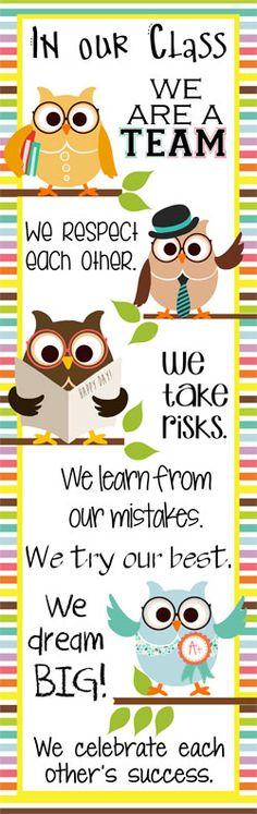 OWL Theme Classroom Decor/ Character Education Banner / X-Large / In Our Class / JPEG / ARTrageous FUN / Vistaprint.com