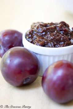 Clean Eating Plum Butter- Friends & family have been giving us plums right & left & it can be tough to keep up with it all! But when somebody gives me so much of a particular fruit, there's just no way that we can possibly eat it all before it goes bad. So I do what I always do. I dump it in a pot and cook it.