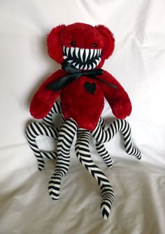 Teddy Bear Monster- Red with Black and White Stripes. WANT!