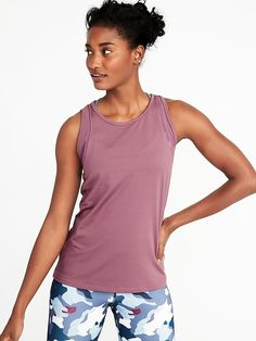 f1cca00d08779 Old Navy Women s High-Neck Mesh-Trim Racerback Performance Tank Bust A  Mauve Big And Tall Size M