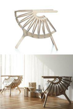 Multi-layer wood low lounge chair SHELL CHAIR by Branca-Lisboa | #design Marco Sousa Santos.