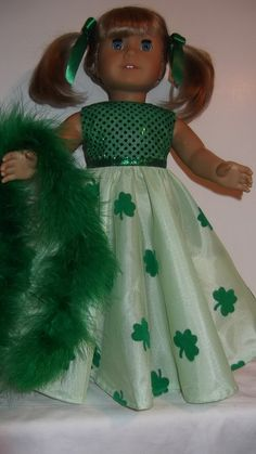 American Girl doll clothes  St Patricks Gown and by susiestitchit, $17.00