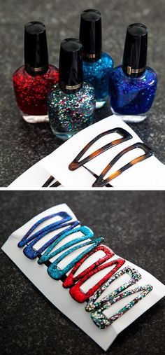 Gifts :: Glittery Barrettes Glittery barrettes as a cute gift idea OR when you are in need of matching accessories.you could use the same nail polish to paint old earrings, bracelets, etc.Glittery barrettes as a cute gift idea OR when you are in need of Homemade Gifts, Diy Gifts, Fun Crafts, Diy And Crafts, Diy Nagellack, Nail Polish Crafts, Nail Polish Jewelry, Glitter Nail Polish, Sibling Gifts