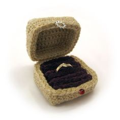 Crocheted Ring Box by NeedleNoodles. #Amigurumi http://www.etsy.com/listing/121222218/ring-box-crocheted-in-wool-and-chenille?favorite_listing_id=121222218_panel=true