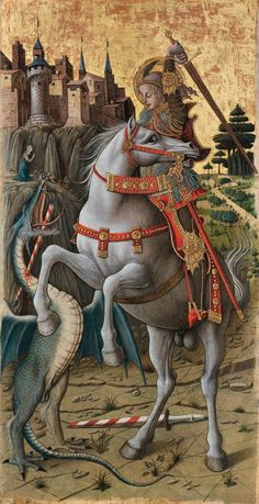 Saint George Slaying the Dragon Carlo Crivelli 1470 Isabella Stewart Gardner Museum Boston - This one's for you Adam Cekanski Dragon Medieval, Medieval Horse, Medieval Art, Saint George And The Dragon, Renaissance Kunst, Gardner Museum, Saint Georges, Christian Artwork, Angels Among Us