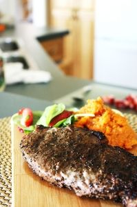 Coffee Rubbed Steak and Sweet Potatoes