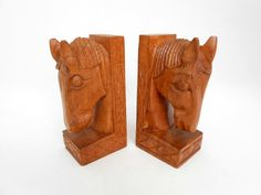 Hand Carved Horse Head Bookends Vintage 1960's Solid by my3luvbugs