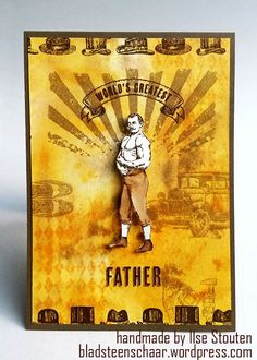 A great vintage masculine card using Guy Greetings stamp set.  In Canada, get Stampin' Up! at http://tracyelsom.stampinup.net