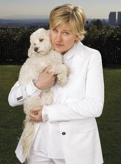 Ellen and her poodle  #celebswithdogs #celebswholovedogs  http://www.nojigoji.com.au/