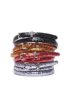 Glitter belt. Glitter on leather. By Thurley.