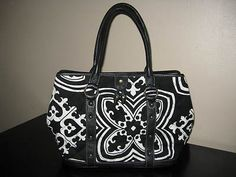 Jcrew Black White Floral Quilted Leather Trim Purse Tote