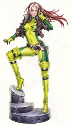 Bishoujo Style Rogue by Shunya Yamashita - Marvel Comics, X-Men, Anime, Manga Marvel Dc Comics, Hq Marvel, Marvel Heroes, Anime Comics, Comic Book Characters, Comic Book Heroes, Marvel Characters, Comic Character, Comic Books Art