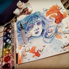 #watercolor #traditionalart #artwork #watercolorpad #painting #female #finishedwork #fish #underwater #bubbles #filter