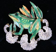 Coro Craft Sterling Enamel Frog Lillypad Pin Brooch. Realized at Auction $625