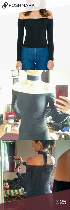 NWT AA mid length choker top NWT American Apparel mid-length choker top in black. Size small. Off-the-shoulder cotton spandex top with back cut outs, choker neckline and long sleeves. 95% cotton, 5% elastane. American Apparel Tops