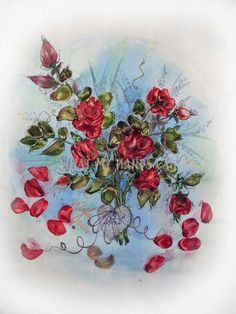 Silk ribbon embroidery with acrylics