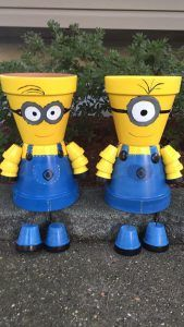 DIY Minion Pot People - How to paint Minion characters from the movie on terra cotta flower pots. Great craft idea for kids