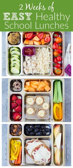 Two weeks of healthy school lunches for kids! These are the lunches that my kids LOVE, and they are easy to make! | http://www.kristineskitchenblog.com