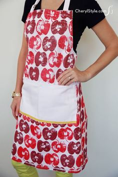 Easy and affordable apple stamped apron – CherylStyle
