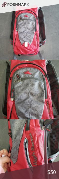 """NWOT High Sierra Red Hydration Pack NWOT High Sierra Red and Gray Floral Hydration Pack. Brand new, never used. Features multiple compartments, 2L hydration compartment, multi-pocket organizer with key fob, tuck-away helmet holder, padded back panel, reflective loop. Comes with 2L reservoir. Check out my other listings & hydration packs for sale, I have a ton!   SIZE: 19"""" x 9' x 4""""  *All earnings go to the victims of hurricane Maria* *tags North Face Jansport Camelbak* High Sierra Bags…"""