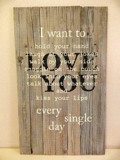 I want to love you sign made using repurposed pallet or barn wood. Gray stained background allowing wood grain to show. by lynda - Diy Home Decor Dollar Store Pallet Crafts, Pallet Art, Pallet Signs, Wood Crafts, Diy And Crafts, Deco Originale, Ideias Diy, Home And Deco, Diy Signs