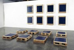 Noel Ivanoff, Stacker P16, 2005, Oil on 16 found pallets, Each panel 920 x 650 x 140mm