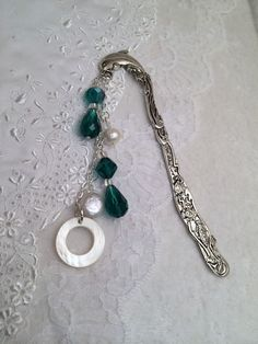 Dolphin Bookmark Pearl  Abalone  Crystal Beads by Just4FunDesign, $12.00