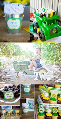 John Deere Tractor themed birthday party with so many cute farm party ideas! Via Karas Party Ideas KarasPartyIdeas.com #farm #tractor #john #deere #party #idea