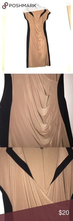 Black and Tan Wrap Dress Really sexy wrap dress that was ordered off of HSN. Only worn ONCE! Dresses Midi