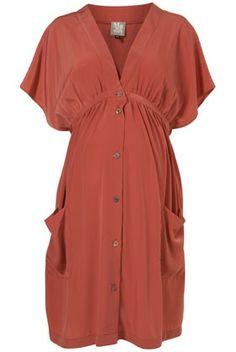 Topshop Maternity/Nursing dress. Kimono silhouette terracotta pockets.