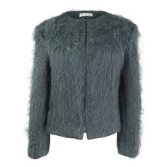 Mariana Jungmann Fluffy Merino Wool Jacket (£939) ❤ liked on Polyvore featuring outerwear, jackets, grey, merino jacket, fitted jacket, gray jacket, merino wool jacket and grey jacket
