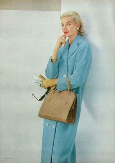 Vogue 1956  photo by Frances McLaughlin-Gill 50s long wool blue coat color photo print ad model magazine baby blue white