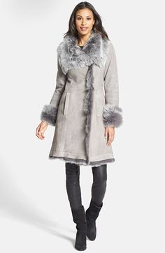 The Fur Vault Toscana Shearling Hooded Wrap Coat | Fur, Hoods and ...