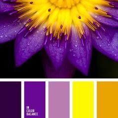 Color Schemes Colour Palettes, Living Room Color Schemes, Colour Pallette, Yellow Color Schemes, Apartment Color Schemes, Bright Purple, Dark Purple, Lilac Color, Purple Lilac