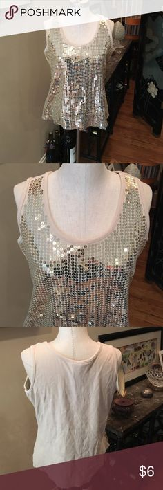 Sz 18/20 tank in Beige w/ Gold sequins. This gold sequined tank has a bust sz of 42 inches and has stretch. Just My Size Tops Tank Tops
