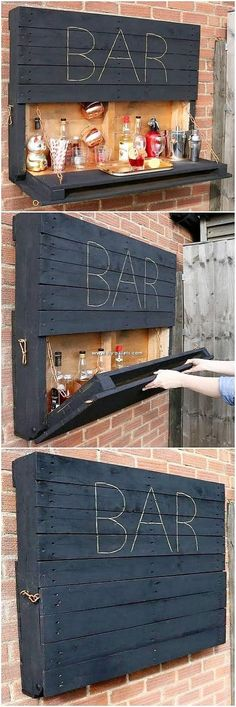 This is a majestic creation of the wood pallet recycling as introduced in the structure of the wood pallet bar impact of the ravishing form of the wood. You will view this creation as best idea for your home wine area decoration. Try with this idea now! Patio Bar, Backyard Patio, Diy Patio, Patio Kitchen, Backyard Plants, Diy Pallet Projects, Home Projects, Craft Projects, Wood Pallet Bar