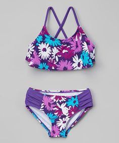 Kanu Surf Purple Allison Flounce Bikini - Girls | zulily