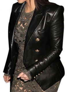Get Online Kim Kardashian Double Breasted Blazer Leather Jacket for Womens at Lowest Price.