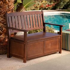 Another possibility for book storage and happy outdoor reading - Coral coast wood storage bench on hayneedle.