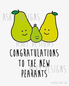 CONGRATULATIONS TO THE NEW PEARANTS! Fruit Pun Design - New Baby Wall Art by AshyDesigns