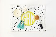 Perfume tray: Monogram Acrylic Tray Personalized Lucite Tray by WhenItRainsShop