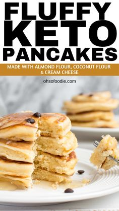 Sugar Free Fluffy Keto Pancakes made with almond flour, coconut flour and cream . - Sugar Free Fluffy Keto Pancakes made with almond flour, coconut flour and cream cheese with only - Keto Pancakes Coconut Flour, Keto Cream Cheese Pancakes, Best Keto Pancakes, Coconut Flour Recipes, Low Carb Pancakes, Tasty Pancakes, Breakfast Pancakes, Diet Breakfast, Mcdonalds Breakfast