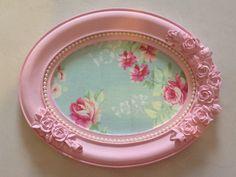 Quadrinho Rosa Tecido Floral e pérolas