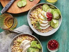 If you have trouble finding lingonberry, cranberry preserves are a fine substitute.  View Recipe: Tangy Chicken-Farro Bowl