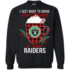 Oakland Raiders Ugly Christmas Sweaters Want To Drink Hot Chocolate & Watch Hoodies Sweatshirts