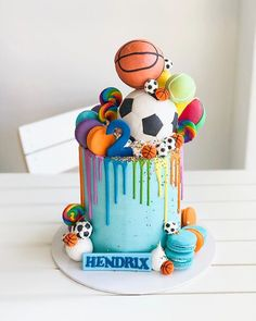 Happy 2nd birthday Hendrix 🏀⚽️🎾 Ball Theme Birthday, Sports Birthday Cakes, Boys First Birthday Cake, Sports Themed Cakes, Sports Themed Birthday Party, Novelty Birthday Cakes, Ball Birthday Parties, Baby Birthday Cakes, Happy 2nd Birthday