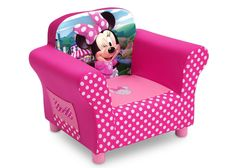 She'll love to snuggle up in this Disney Minnie Mouse Upholstered Chair from Delta Children! A cozy toddler chair, it features a durable wood frame, plush foam padding, storage pockets on both sides. Girl Nursery, Girl Room, Minnie Mouse Toys, Toddler Chair, Toddler Rooms, Pink Bedrooms, Delta Children, Upholstered Chairs, Kids Bedroom