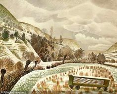 New Year Snow by Eric Ravilious 1938 (Private Collection). Capel-y-ffin, Powys. Landscape Art, Landscape Paintings, Landscapes, Hunters In The Snow, Country Life, Oeuvre D'art, Find Art, Les Oeuvres, Printmaking