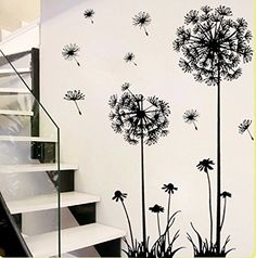 Black Removable Art Vinyl DIY Dandelion Decal Mural Wall Sticker Home Room Decor Removable Wall Stickers, Flower Wall Stickers, Wall Stickers Home Decor, Room Wall Decor, Home Decor Bedroom, Bedroom Wall, Bedroom Stickers, Room Art, Dandelion Wall Decal